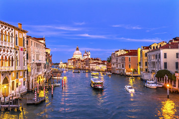 Grand Canal Santa Maria Salute Church Gondolas Venice Italy