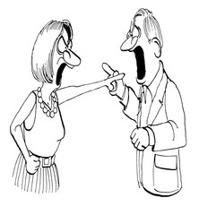 Cartoon illustration of a man and a woman yelling and angry at each other.