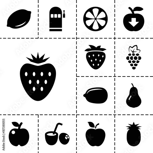 fruit icons set of 13 editable filled fruit icons stock image and