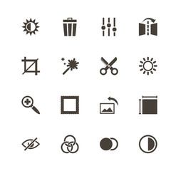 Image Editing icons. Perfect black pictogram on white background. Flat simple vector icon.