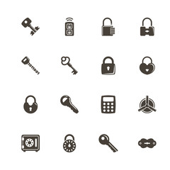 Keys and Locks icons. Perfect black pictogram on white background. Flat simple vector icon.