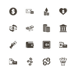 Money icons. Perfect black pictogram on white background. Flat simple vector icon.