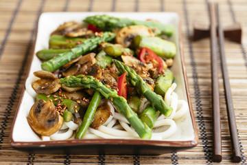 Asparagus, Mushroom Stir-Fry on Asian Noodles