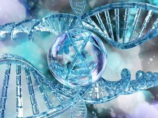 DNA. RNA. 3D rendering