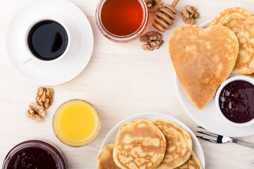 Valentine's day breakfast or brunch. Table viewed from above