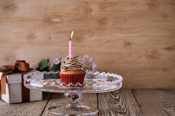 Delicious birthday cupcake with one candle