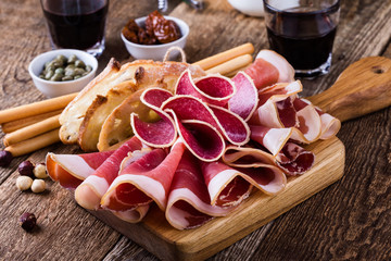 Smoked meat antipasto platter