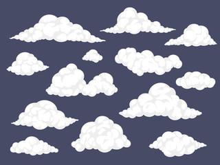 Set of cartoon clouds. Fluffy cloud vector illustration Fotoväggar