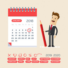 Businessman with pen and calendar. Business Operations Planning and Scheduling Concept.