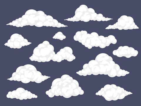 Set of cartoon clouds. Fluffy cloud vector illustration