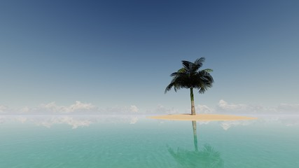 Palm and tropical beach 3D render