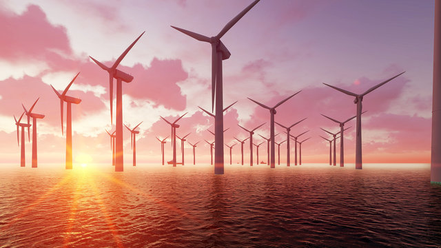 Wind farm at dusk and sea 3D render