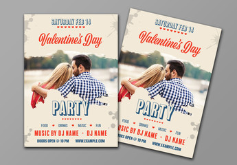 Valentine's Day Flyer with Brush Stroke Photo Effects