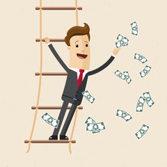 Businessman with money in his hand stand on the rope ladder. Vector, illustration, flat