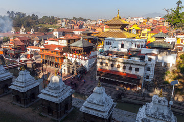 Bhasmeshvar Ghat at Pashupatinath temple and Bagmati River in Kathmandu, Nepal.