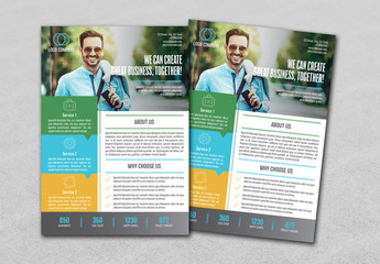 Business Flyer Layout with Green, Blue and Orange Accents