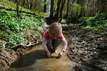 Young child plays in a forest stream.