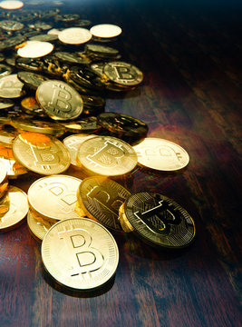 Bitcoin decentralized currency coins on table