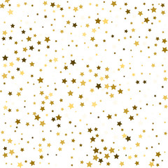 Abstract pattern of random falling gold stars on white background. Glitter template for banner, greeting card, Christmas and New Year card, invitation, postcard, paper packaging. Vector illustration.