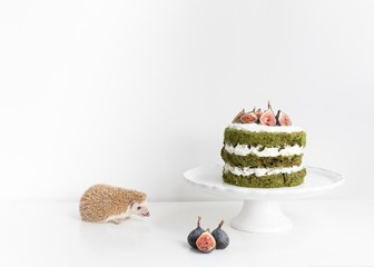Hedgehog with layered green tea cake with fresh figs on white table