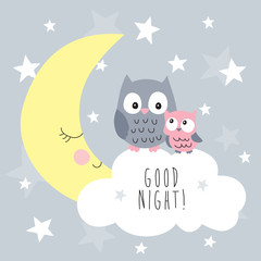 cute owls on the cloud vector illustration