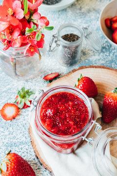 Homemade strawberry and chia jam