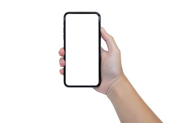 woman hand holding black smartphone on white background with blank copyspace