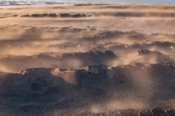 grains de sable au vent sur une plage