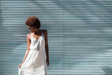 Beautiful African Woman Wearing White Dress