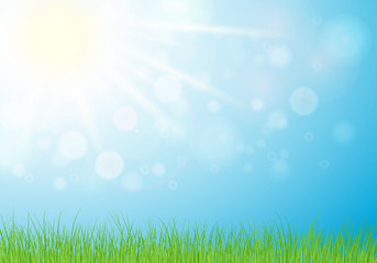Sunny day, spring or summer nature background with grass , sun light on blue sky background.  illustration.Eps 10.
