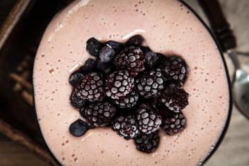 Vegan nice cream with banana and berries