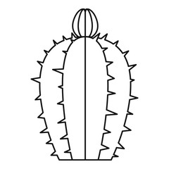 Blooming cactus icon, outline style