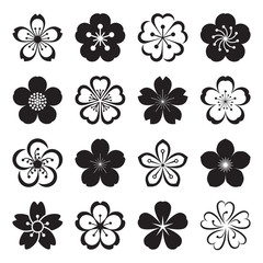 Sakura icons. Collection of 16 Ume Japanese cherry blossom symbols isolated on a white background. Vector illustration