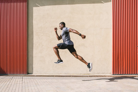 Athlete training in the street.