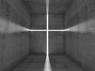 Concrete room, lighting cross on the wall