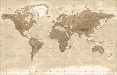World Map Physical Vintage - vector