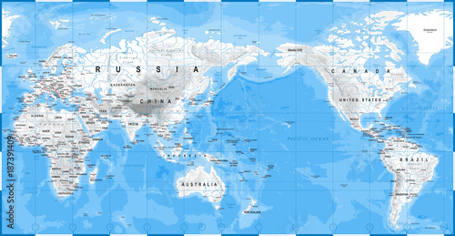 World Map Physical White - Asia in Center - China, Korea ...