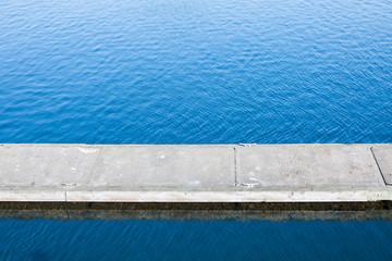 Floating pier in water
