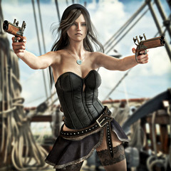 Fantasy Pirate female drawing two pistols to defend her ship. 3d rendering