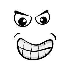 cartoon angry face isolated on white background