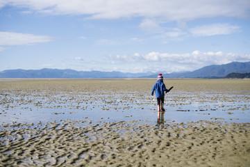 Girl toddler exploring a beach at low tide, Golden Bay, New Zealand.