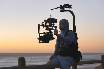 Man with stabiliser camera rig