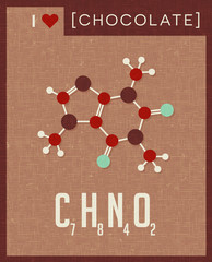 Retro style scientific poster of the molecular formula and structure of cacao, chocolate. Vector illustration.