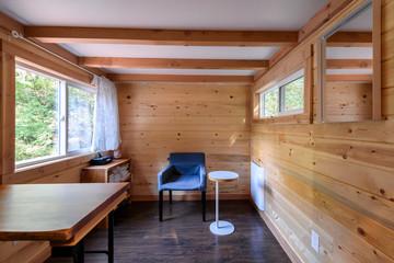 Interior design of a cozy living room in a rustic log cabin.