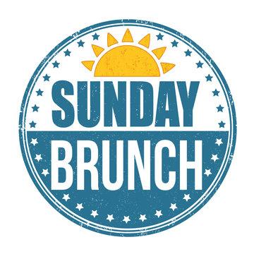 Sunday brunch grunge rubber stamp