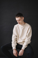Studio portrait of teen male