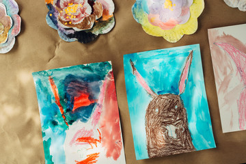 Kids Easter bunny watercolor paintings