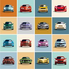 Car icons. Flat style car icon.