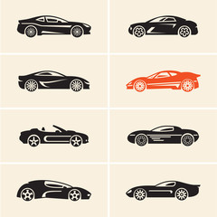 Vector car icons. Sport cars.