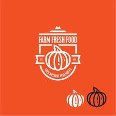 Pumpkin vector icon. Pumpkin vegetable label.